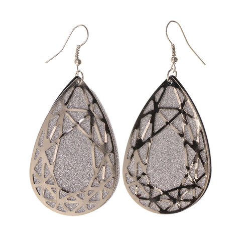 Glitter Sparkle Dangle-Earrings Silver-Tone Color #LQE2726