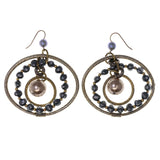 Silver-Tone & Gold-Tone Colored Metal Dangle-Earrings With Bead Accents #LQE2785