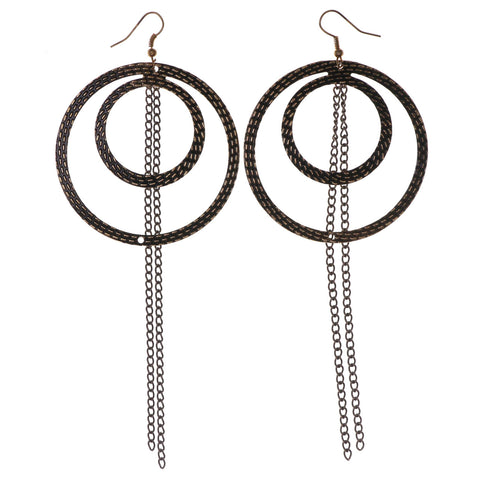 Gold-Tone & Black Colored Metal Dangle-Earrings With tassel Accents #LQE2789