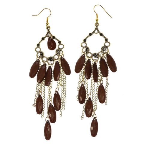 Gold-Tone & Brown Colored Metal Dangle-Earrings With tassel Accents #LQE2792
