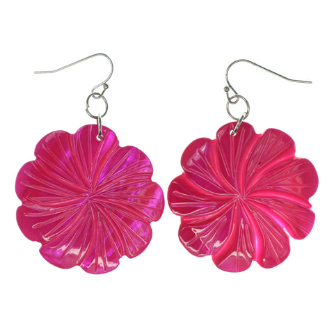 Flower Shell Dangle-Earrings Pink Color #LQE2800