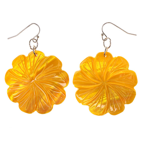 Flower Shell Dangle-Earrings Yellow Color #LQE2809