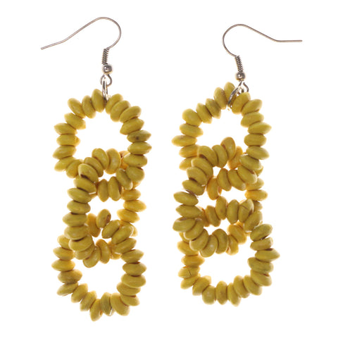 Yellow & Silver-Tone Colored Wooden Dangle-Earrings #LQE2843