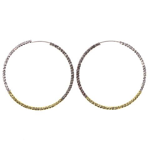 Silver-Tone & Gold-Tone Colored Metal Hoop-Earrings #LQE2845
