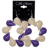 Purple & White Colored Metal Dangle-Earrings #LQE2875