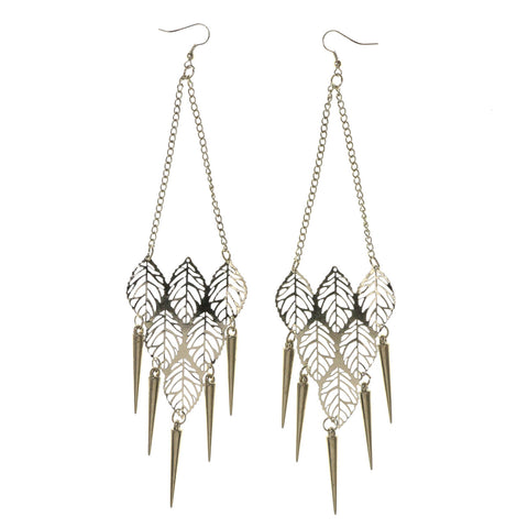 Leaf Spike Dangle-Earrings Silver-Tone Color #LQE2881