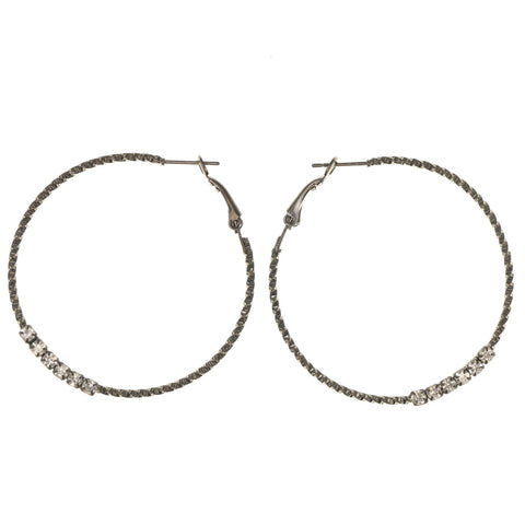 Black & Silver-Tone Colored Metal Hoop-Earrings With Crystal Accents #LQE3011