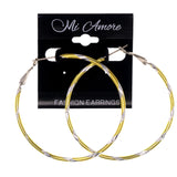 Metal Hoop-Earrings Yellow & Silver-Tone