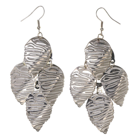 Leaf Chandelier-Earrings Silver-Tone Color #LQE3033