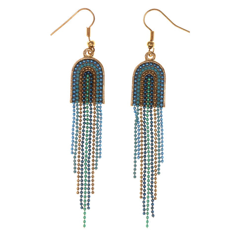 Blue & Gold-Tone Colored Metal Dangle-Earrings With Bead Accents #LQE3052