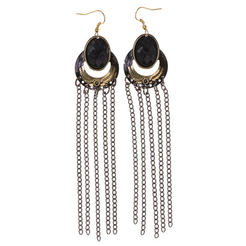 Black & Gold-Tone Colored Metal Dangle-Earrings With Stone Accents #LQE3067