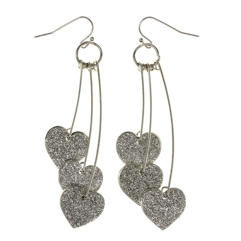 Glitter Sparkle Heart Dangle-Earrings Silver-Tone Color #LQE3071