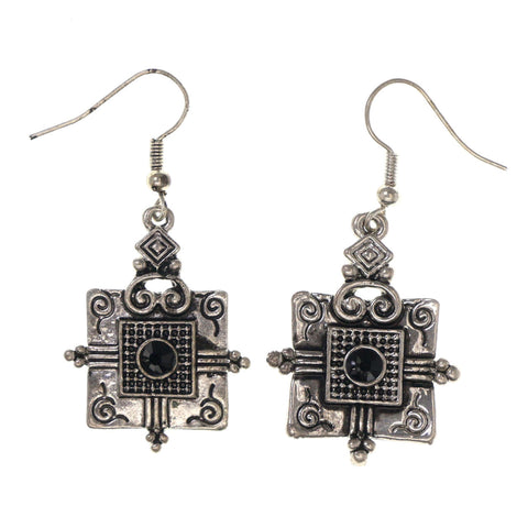 Silver-Tone & Black Colored Metal Dangle-Earrings With Crystal Accents #LQE3076
