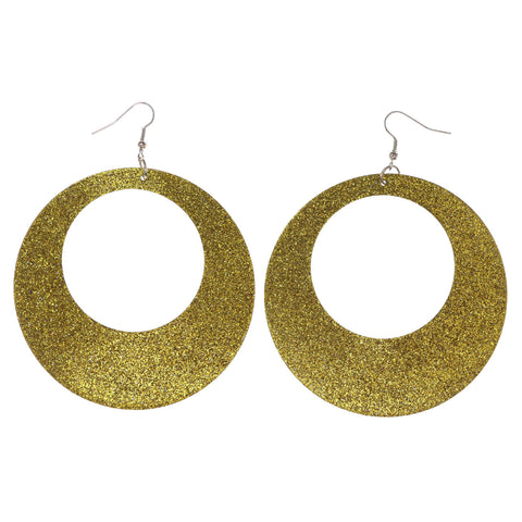 Glitter Sparkle Dangle-Earrings Yellow Color #LQE3083