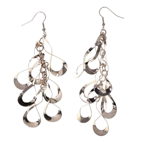 Silver-Tone Metal Dangle-Earrings #LQE3088