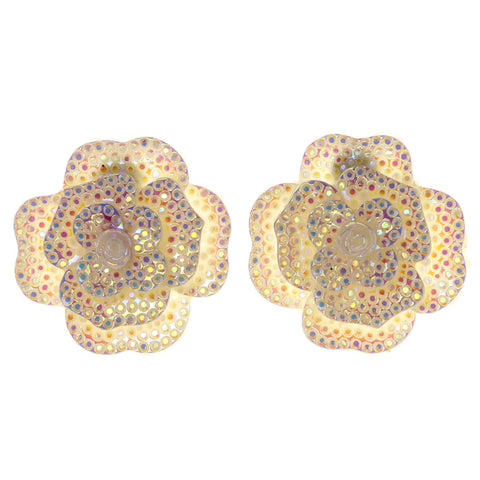 AB Finish Flower Stud-Earrings White Color #LQE3094