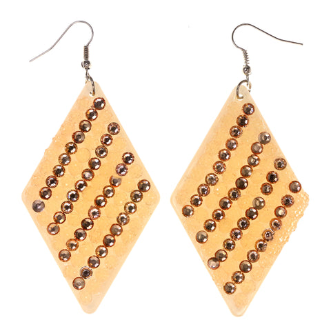 Crystal Accents Plastic Dangle-Earrings White & Peach #LQE3105
