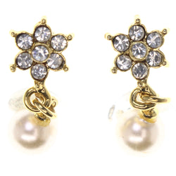 Flower -Dangle-Earrings Crystal Accents Gold-Tone & White