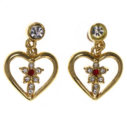 Heart Flower -Dangle-Earrings Crystal Accents Gold-Tone & Red #LQE3541
