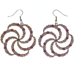 Unique Different Dangle-Earrings Pink & Peach Colored #LQE3594