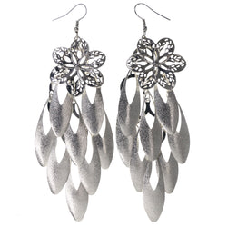 Flower Chandelier-Earrings Silver-Tone Color  #LQE3760