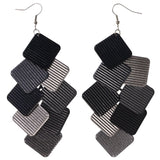 Silver-Tone & Black Colored Metal Chandelier-Earrings #LQE3784
