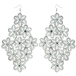 Flower Chandelier-Earrings With Crystal Accents  Silver-Tone Color #LQE3791
