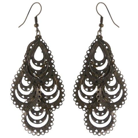 Gold-Tone Metal Chandelier-Earrings #LQE3842