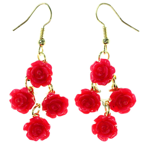 Rose Chandelier-Earrings With Bead Accents Pink & Gold-Tone Colored #LQE3906