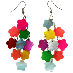 Colorful Flower Chandelier-Earrings Bead Accents Colorful & Silver-Tone