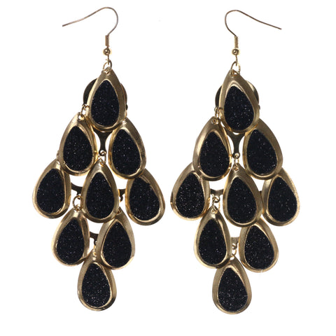 Sparkling Glitter Chandelier-Earrings Black & Gold-Tone Colored #LQE3963