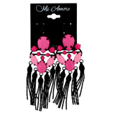 Pink & Black Colored Plastic Dangle-Earrings With Bead Accents