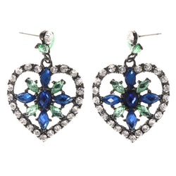 Heart Flower -Dangle-Earrings Crystal Accents Blue & Green #LQE4066