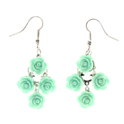Rose Chandelier-Earrings With Bead Accents Green & Silver-Tone Colored #LQE4073