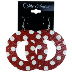 Polka Dots Dangle-Earrings Red & White Colored #LQE4139