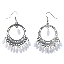 Silver-Tone & White Colored Metal Dangle-Earrings With Bead Accents #LQE4352