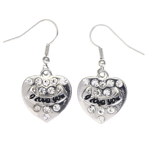 Mi Amore I love You Heart Dangle-Earrings Silver-Tone & Black