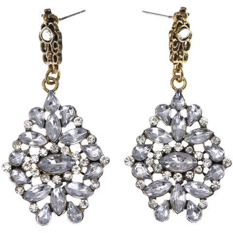 Mi Amore Antiqued Drop-Dangle-Earrings Silver-Tone/Gold-Tone