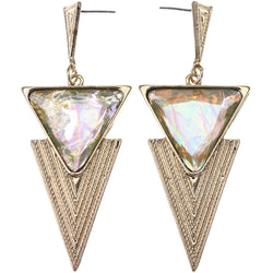 Mi Amore Faceted  Drop-Dangle-Earrings Gold-Tone/Green