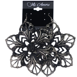 Mi Amore Antiqued Flower Dangle-Earrings Silver-Tone & Black