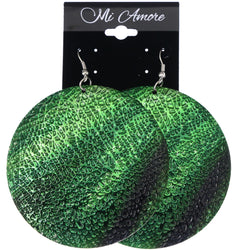 Mi Amore Textured Dangle-Earrings Green/Black
