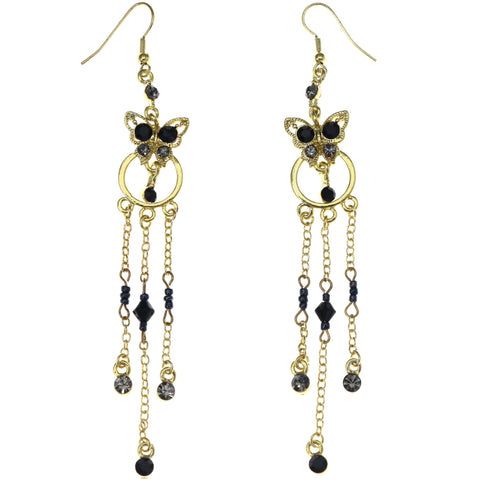 Mi Amore Butterfly Dangle-Earrings Gold-Tone/Black