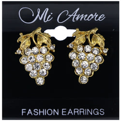 Mi Amore Grapes Stud-Earrings Gold-Tone