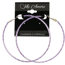 Mi Amore Textured Hoop-Earrings Purple/Silver-Tone
