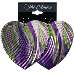 Mi Amore Textured Heart Dangle-Earrings Purple & Green