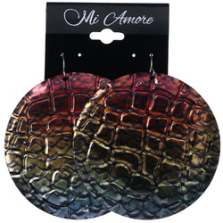 Mi Amore Textured Rainbow Scale Pattern Dangle-Earrings Multicolor