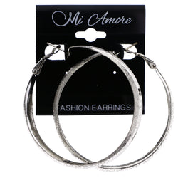 Mi Amore Textured Flower Hoop-Earrings Silver-Tone