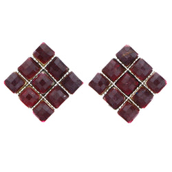 Mi Amore Faceted Stud-Earrings Pink/Silver-Tone