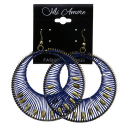 Mi Amore String Art Dangle-Earrings Blue/Gold-Tone