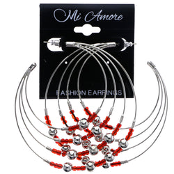Mi Amore Dangle-Earrings Silver-Tone/Red